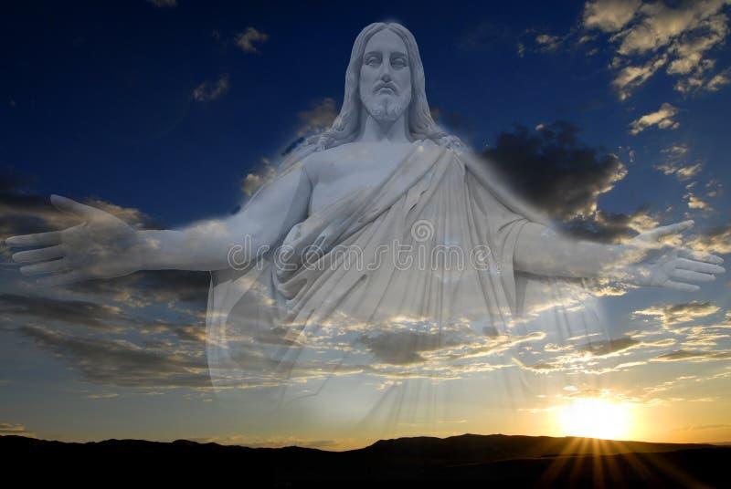 耶稣日落平安的创作天空和云彩 免版税库存照片