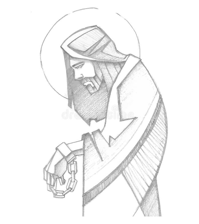 耶稣束缚了在他的激情 向量例证
