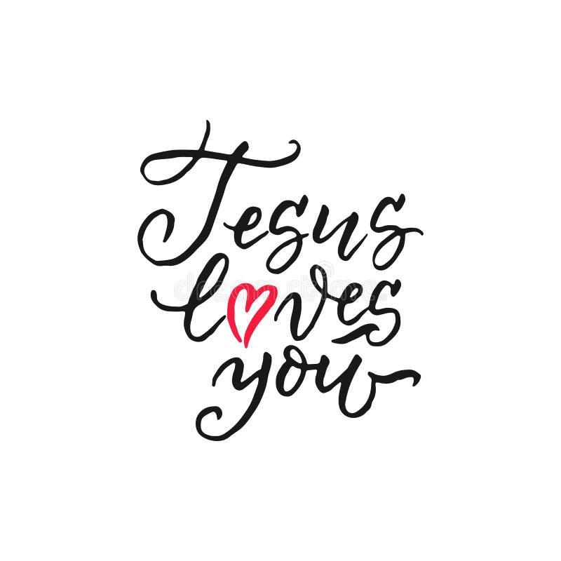 耶稣爱您-传染媒介宗教递字法 皇族释放例证