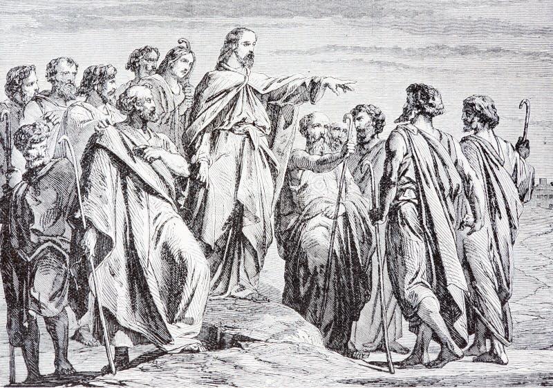耶稣由艺术家Scheuchl派出他的门徒石版印刷1907年 免版税库存图片