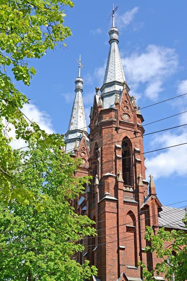 耶稣的圣洁心脏的教会的大厦的片段1910年 雷宾斯克,雅洛斯拉夫尔地区 免版税库存图片