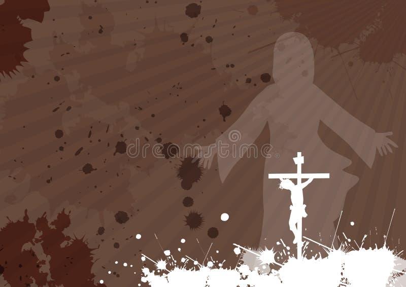 耶稣的在十字架上钉死和复活 库存例证
