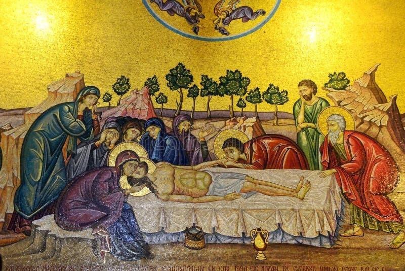耶稣的涂油 中央马赛克 教会圣洁坟墓 免版税库存照片
