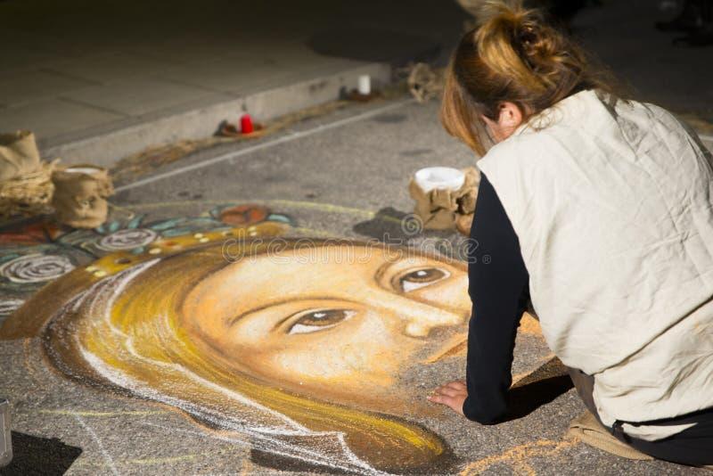 绘耶稣的街道艺术家 库存照片