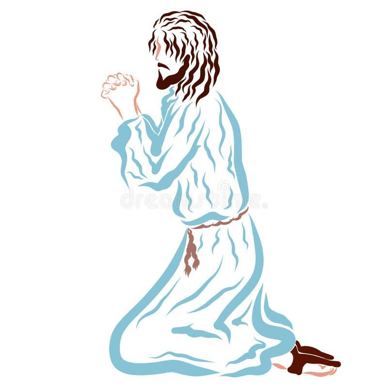 耶稣祈祷在他的膝盖的,救主阁下 库存例证