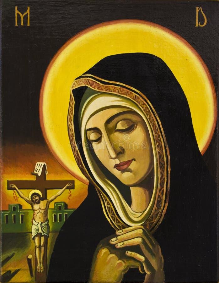 耶稣祈祷的妇女 向量例证