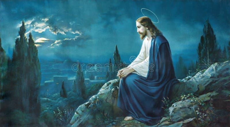 耶稣祷告在Gethsemane庭院里 从结尾的典型的cahtolic打印图象的19 分 库存照片
