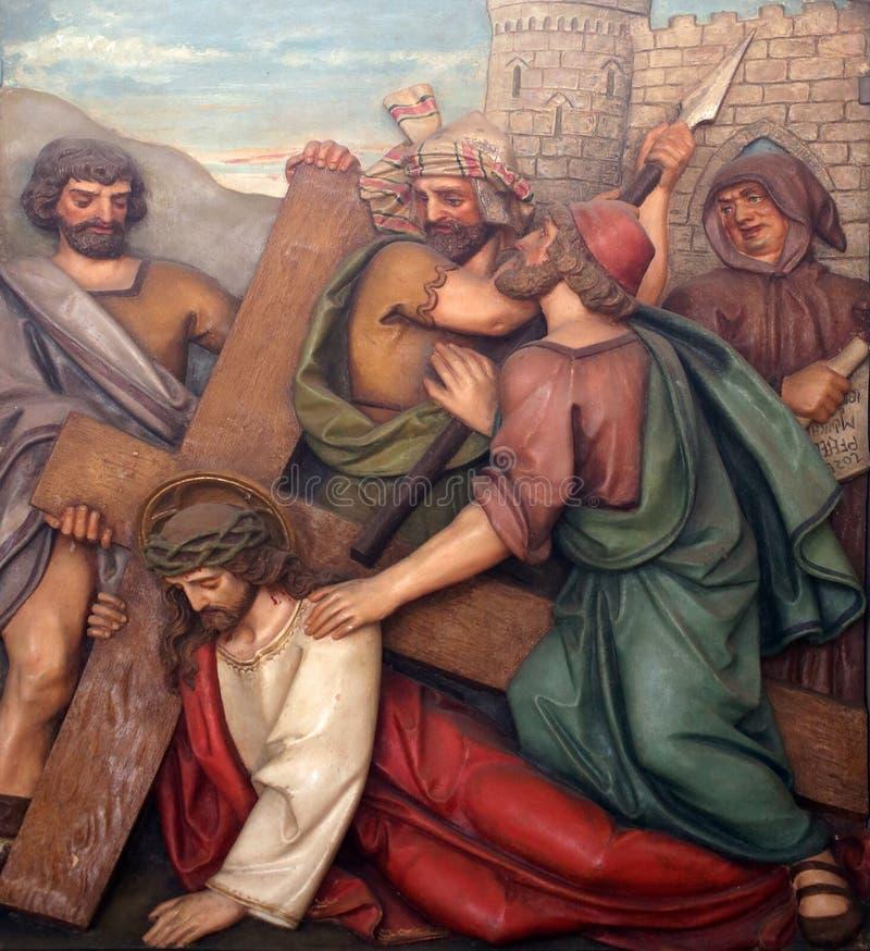 耶稣秋天第二次,第7个苦路 库存照片