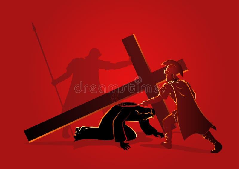 耶稣第三次跌倒 向量例证