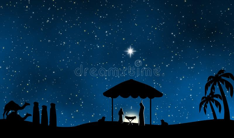 耶稣诞生在圣洁夜设计背景中 向量例证