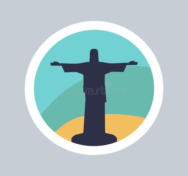 耶稣逗人喜爱的雕象五颜六色的横幅在里约 向量例证