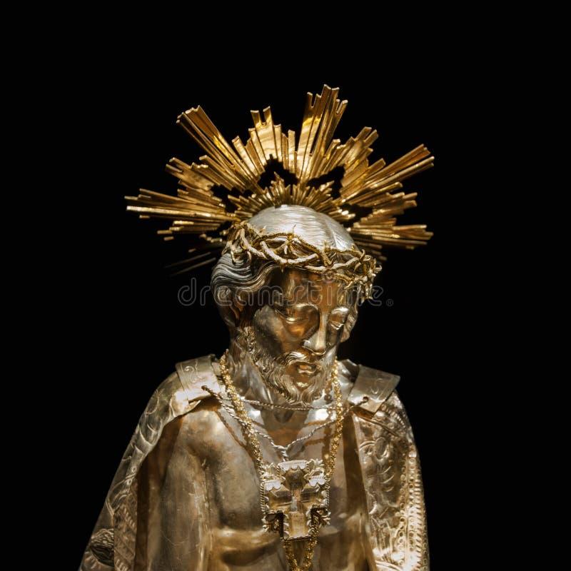 耶稣金雕塑 免版税库存图片