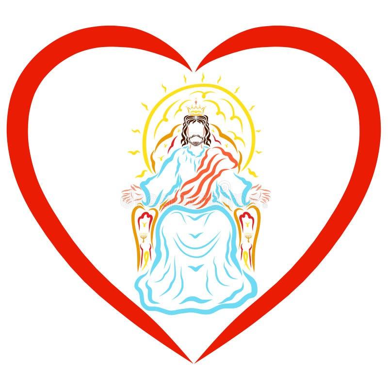 耶稣阁下判决在心脏,保佑天堂般的国王 皇族释放例证