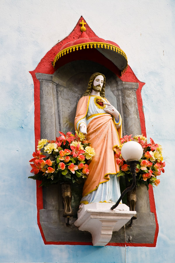 耶稣雕象 免版税库存图片