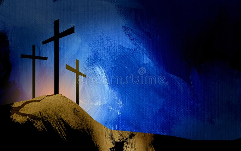 耶稣风景图表基督徒十字架  向量例证