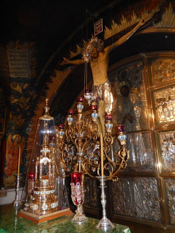 耶稣, GOLGOTHA,圣墓教堂,耶路撒冷在十字架上钉死  免版税图库摄影