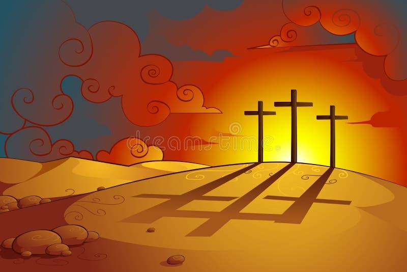 耶稣Christs在十字架上钉死 皇族释放例证