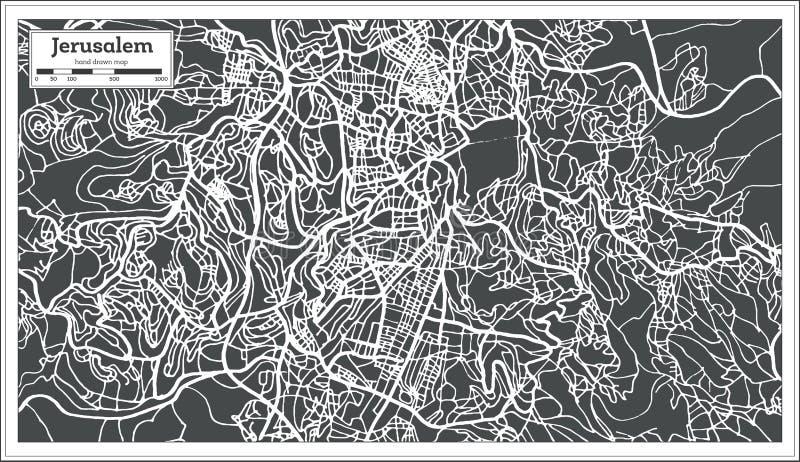 耶路撒冷以色列在减速火箭的样式的市地图 皇族释放例证