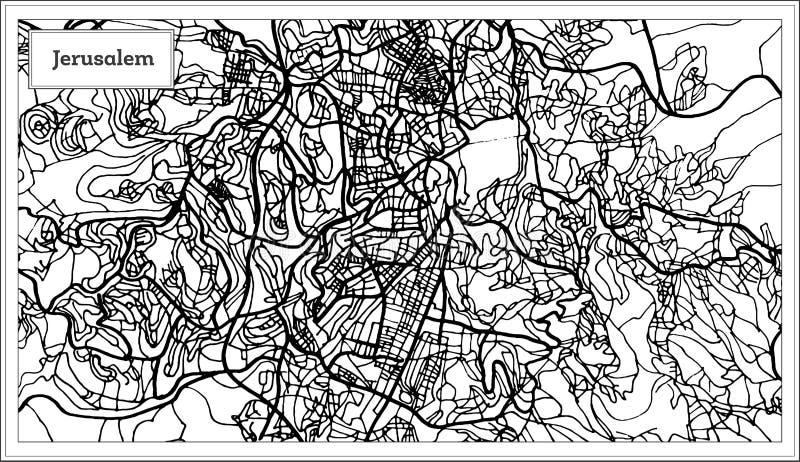 耶路撒冷以色列在黑白颜色的市地图 库存例证