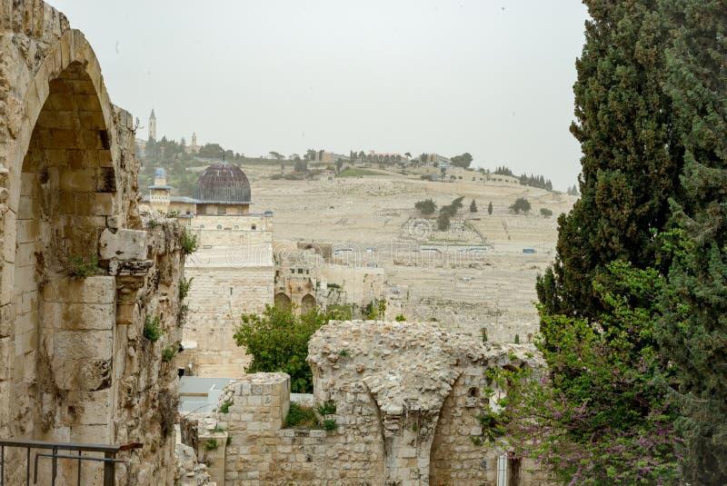 耶路撒冷全景屋顶视图 库存图片
