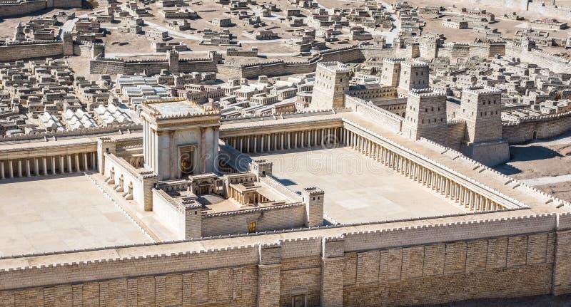 耶路撒冷寺庙模型从1世纪C e 免版税库存照片