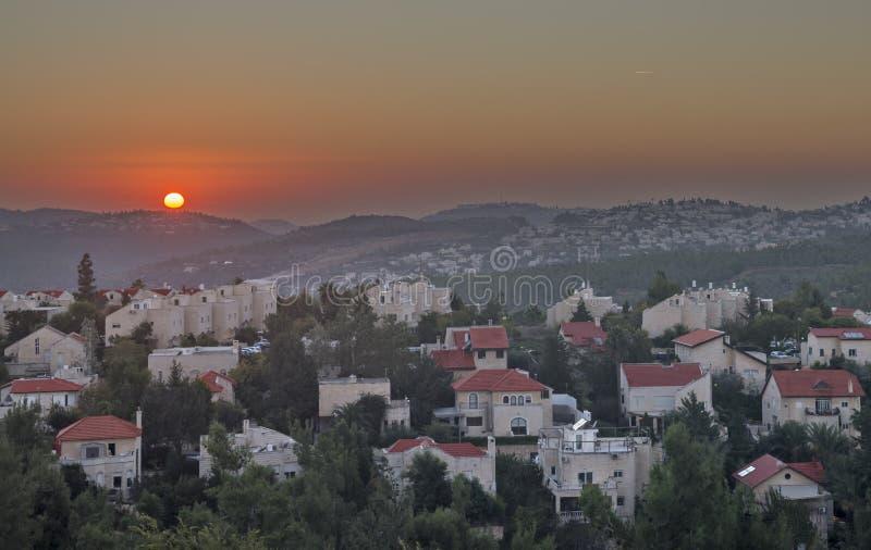 耶路撒冷小山日落的 库存图片
