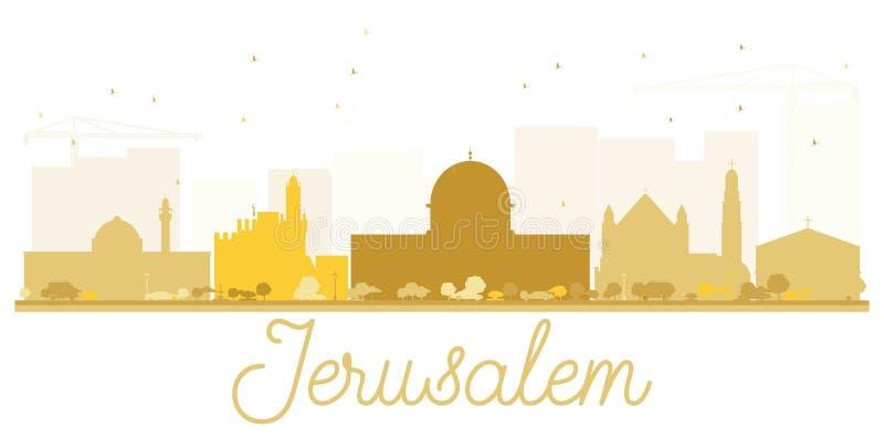耶路撒冷市地平线金黄剪影 库存例证
