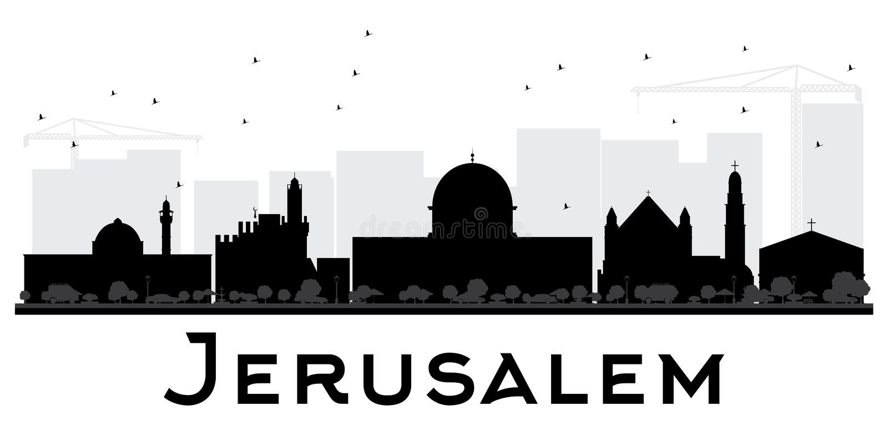 耶路撒冷市地平线黑白剪影 库存例证