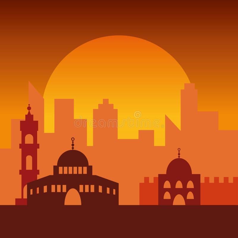 耶路撒冷日落 犹太标志城市大厦 向量例证