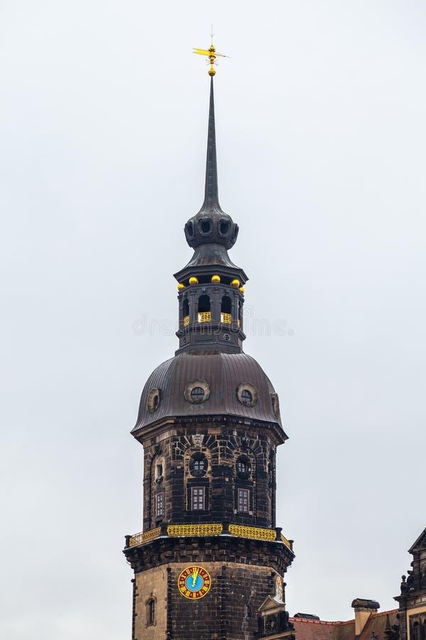 耶路撒冷旧城,德累斯顿 王宫的一座古老钟楼 A 免版税库存照片