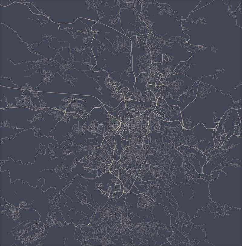 耶路撒冷,以色列的地图  皇族释放例证