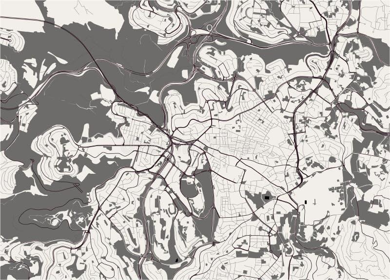 耶路撒冷,以色列的地图  向量例证