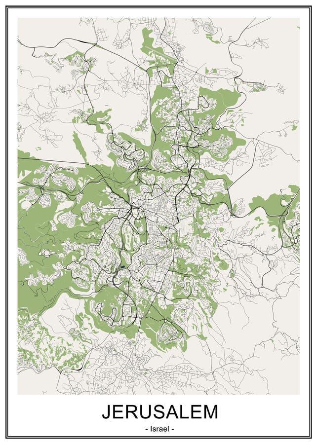 耶路撒冷,以色列的地图  库存例证