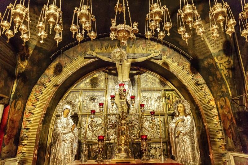 耶路撒冷,以色列09/11/2016:Golgotha在圣洁坟墓的教会里,特写镜头 免版税库存照片