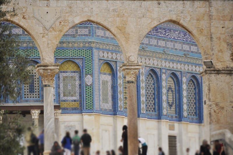 耶路撒冷,在岩石的圆顶的墙壁上的马赛克 库存图片