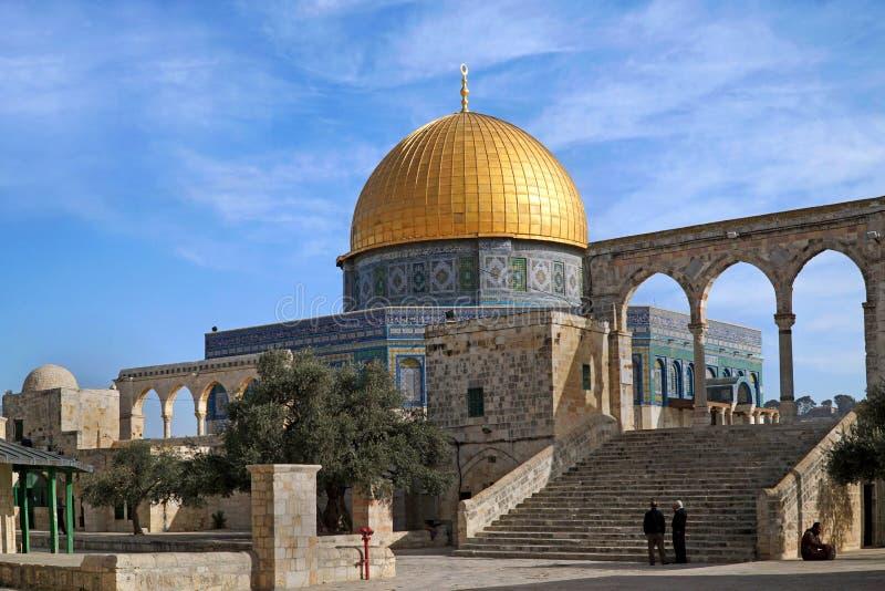 耶路撒冷,对岩石的圆顶的步 库存照片