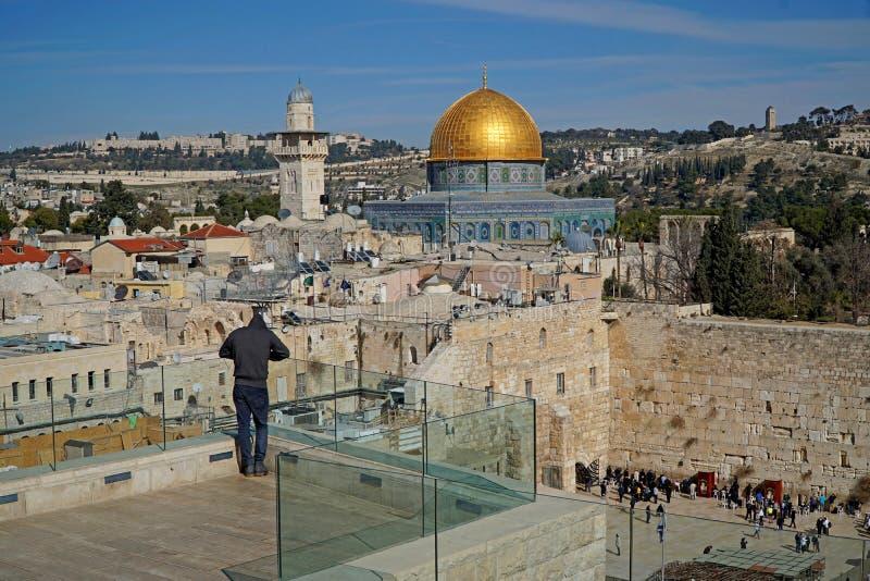 耶路撒冷,岩石和西部墙壁的圆顶 库存照片