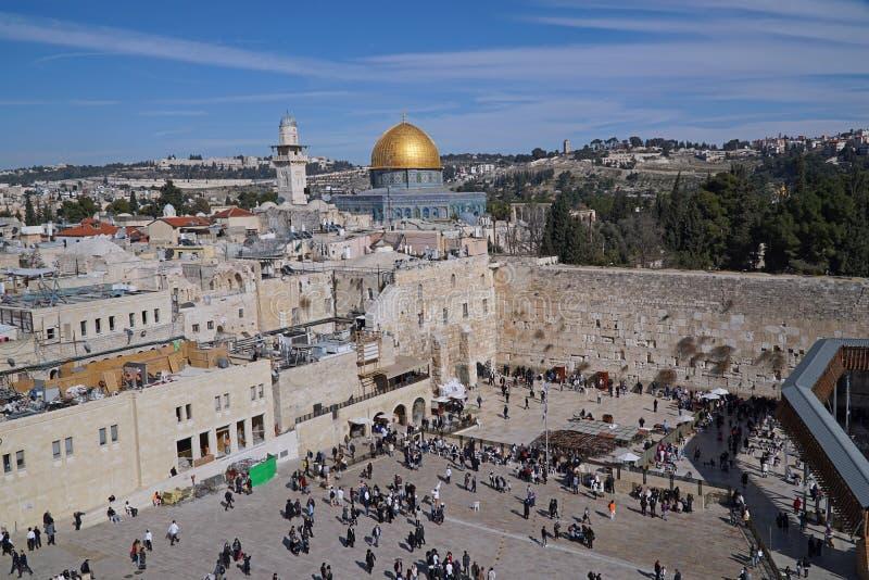耶路撒冷,西部墙壁广场全景  免版税图库摄影