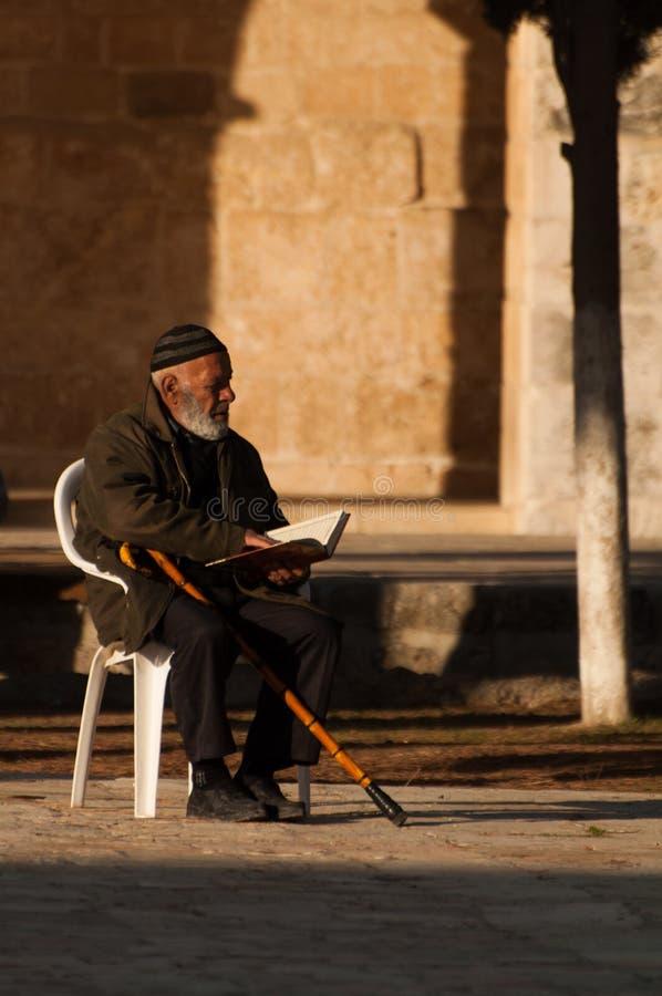 耶路撒冷,2012年12月:年长人祈祷在登上耶路撒冷圣殿,以色列 免版税库存照片