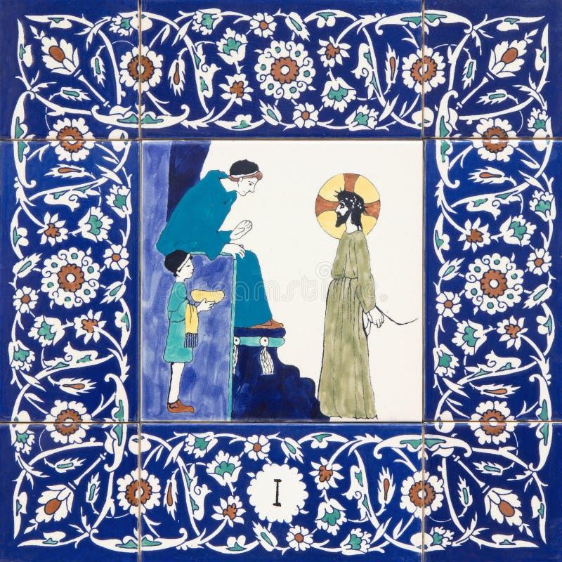 耶路撒冷-发怒方式的陶瓷铺磁砖的驻地在圣乔治英国国教的教堂里 彼拉多的耶稣评断 库存图片