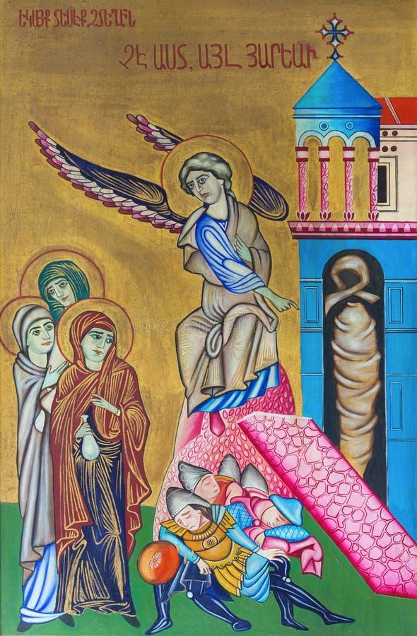 耶路撒冷-复活象从圣墓教堂的由未知的艺术家 图库摄影