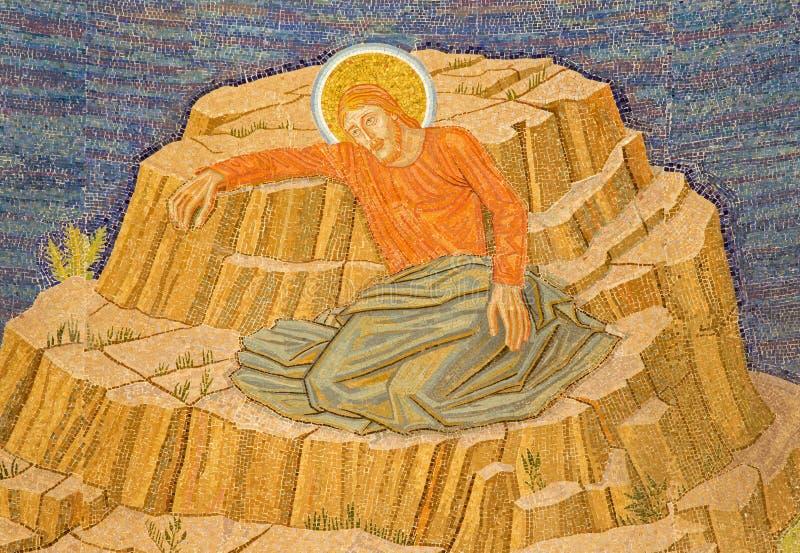 耶路撒冷-耶稣马赛克在Gethsemane庭院里在万国教堂里(极度痛苦的大教堂) 免版税库存照片
