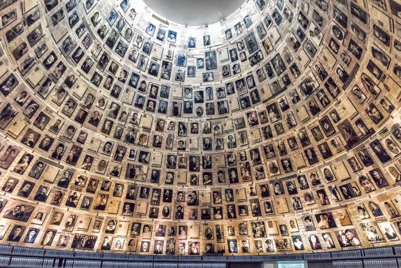 耶路撒冷Yad-Vassim已故的犹太人民的照片的博物馆14-09-2017视图,如在博物馆中看到 库存照片