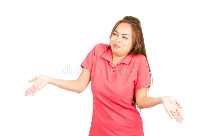耸肩的笑的亚裔妇女 免版税图库摄影
