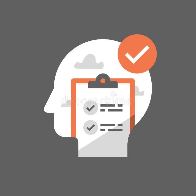 耽搁解答,工作计划议程,进展清单,时间安排,做名单,剪贴板调查,考试测试 库存例证