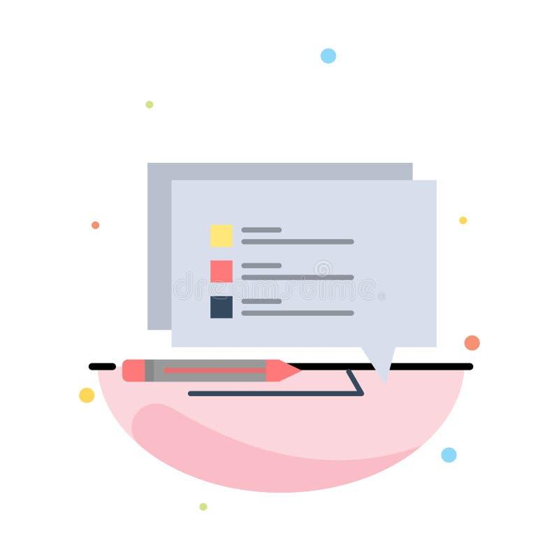 聊天、短信、消息、写抽象平面颜色图标模板 皇族释放例证