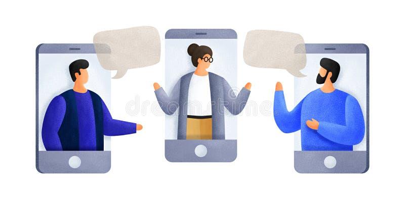 聊天与使用手机的同事 互相谈话的年轻人,谈论新闻,人脉 免版税库存照片
