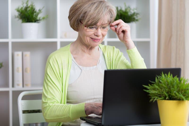 聊天在互联网上的妇女 免版税库存图片