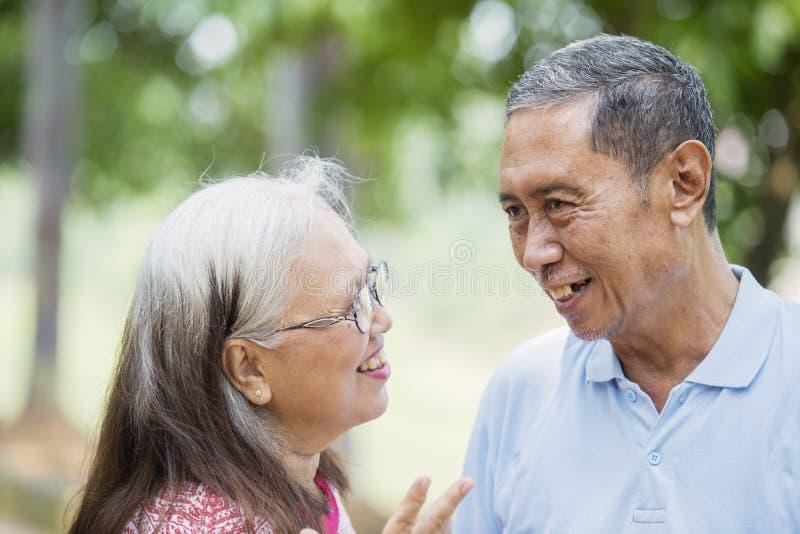 聊天在公园的快乐的老夫妇 免版税图库摄影