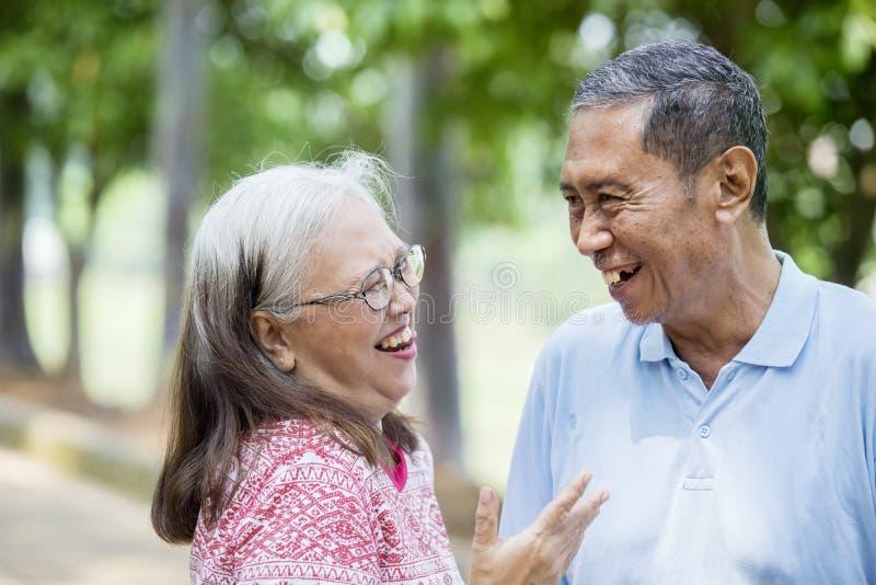 聊天在公园的愉快的年长夫妇 免版税库存图片